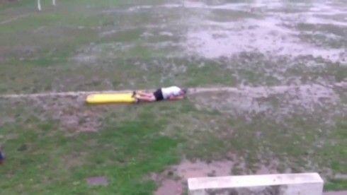 VIDEO: Marbella Gaelic football team holds hillarious lilo-sliding competition in Spanish rain