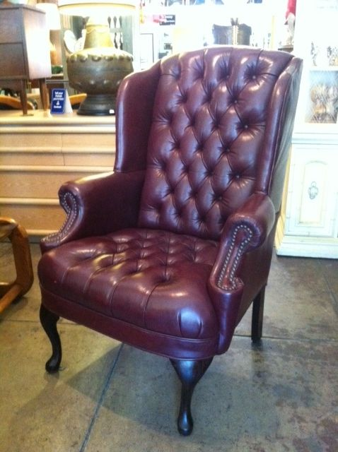 This Pair Of Oxblood Buttoned Leather Wingback Chairs Were Completely Hand  Crafted Using The Finest Of
