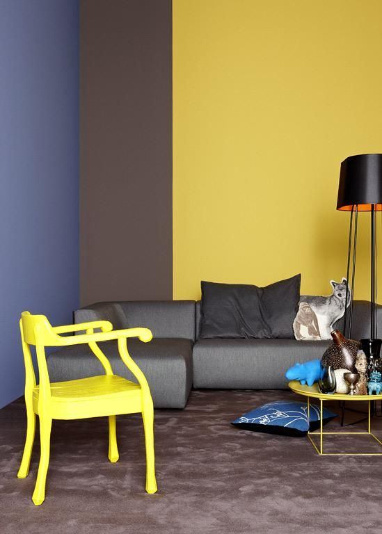 farbenmix trendkombinationen bei wandfarben farbquartett gelb braun blau und grau yellow. Black Bedroom Furniture Sets. Home Design Ideas