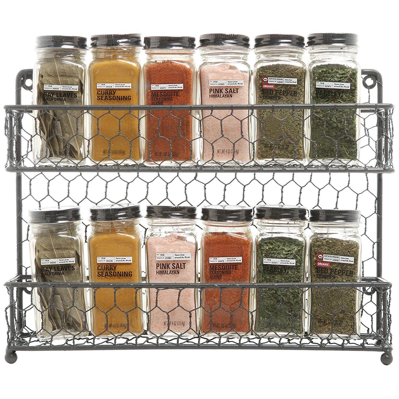 Amazon Com Mygift Rustic Gray Dual Tier Wire Spice Rack Jars Storage Organizer Kitchen Countertop O Jar Storage Wall Mounted Spice Rack Kitchen Organization