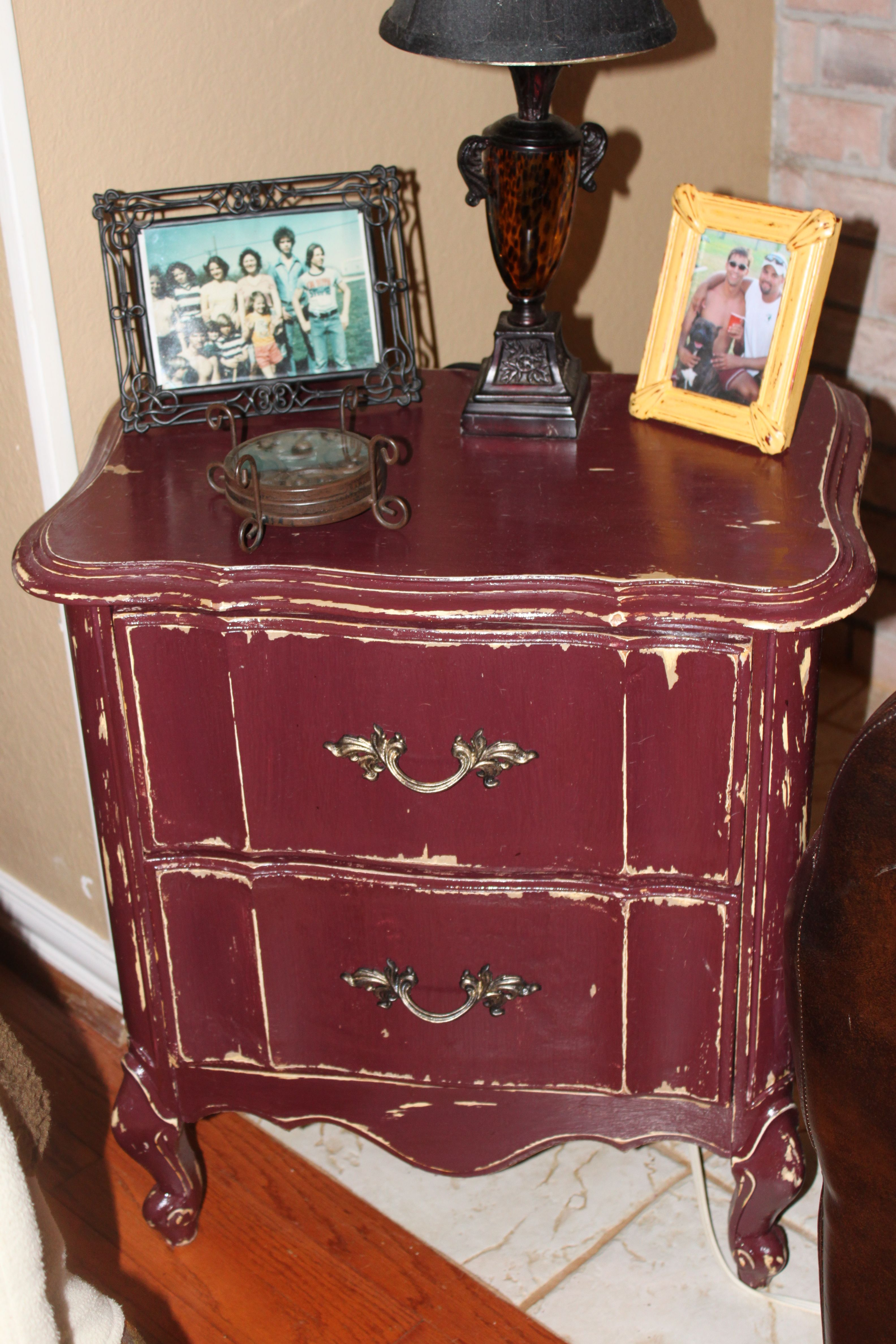 Ancient burgundy over creamy pearl colored side table, shabby chic ...