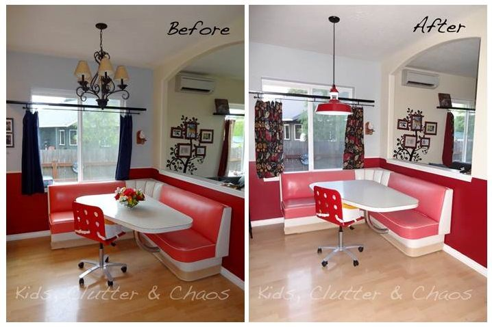 Red Pendant Ties In With 1950s Diner Style Table Blog Barnlightelectric