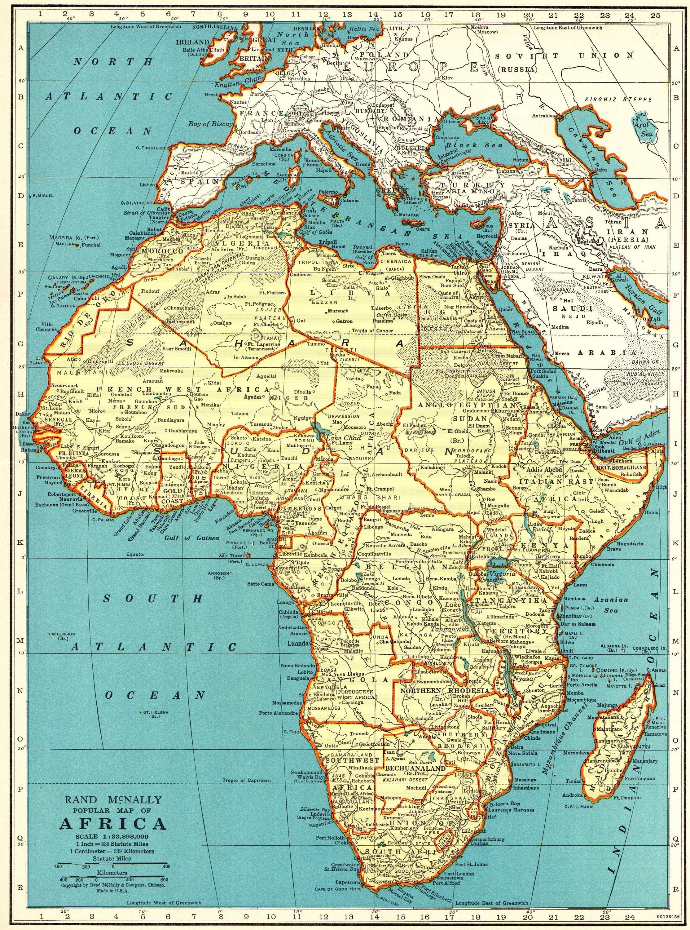 Map Of Africa 1940.1940 Antique Map Of Africa Vintage Africa Map Gallery Wall
