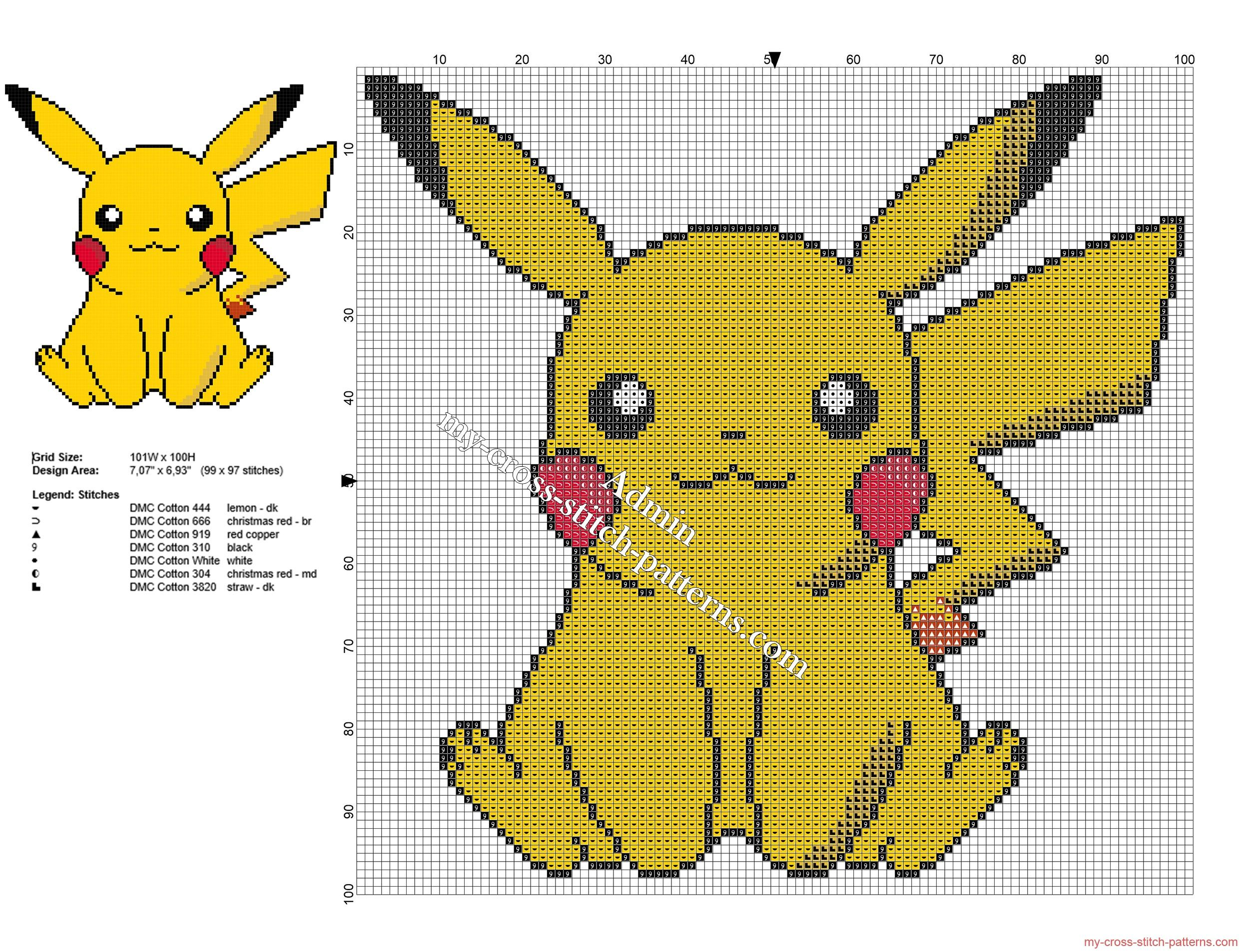 Pikachu Pokemon free small and simple cross stitch pattern ...