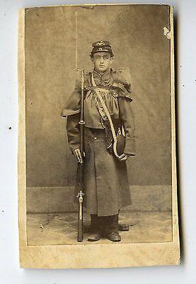 CDV Card,Vintage Photo,Civil War Era,Young Soldier,Rifle,Bayonet,Canteen,Coat