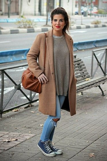 Zara Coat, Zara Bag, Converse Sneakers | Outfits with
