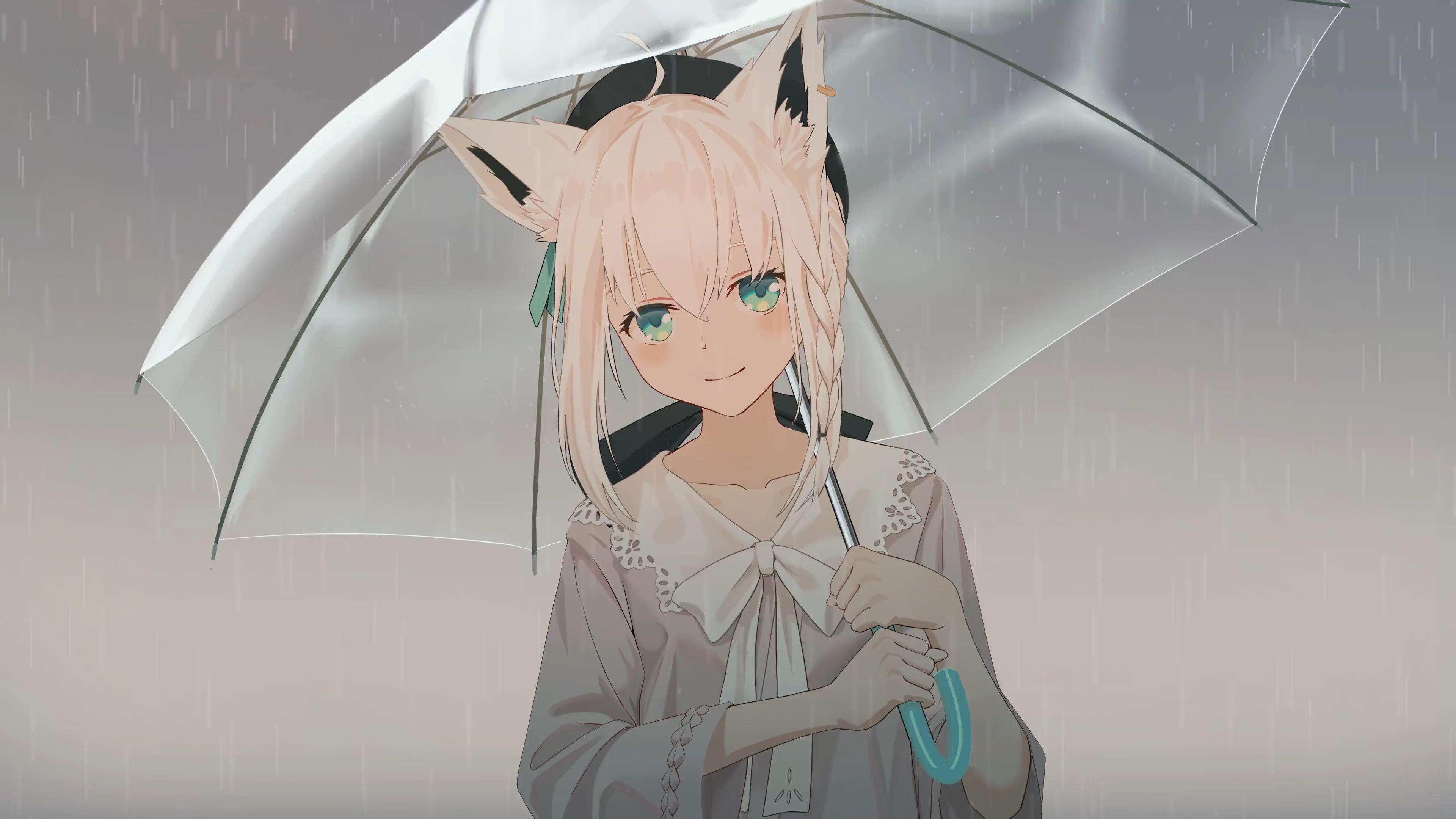 Vtuber Shirakami Fubuki Rain 4k 60fps Wallpaper Engine Anime Anime Anime Wallpaper Wallpaper Cute anime wallpaper engine
