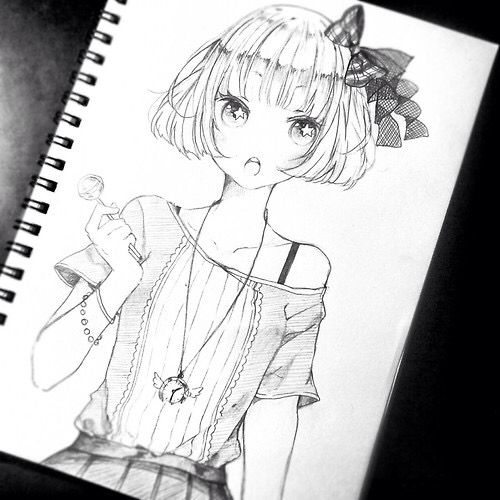 drawing ideas short hair drawinganime girl