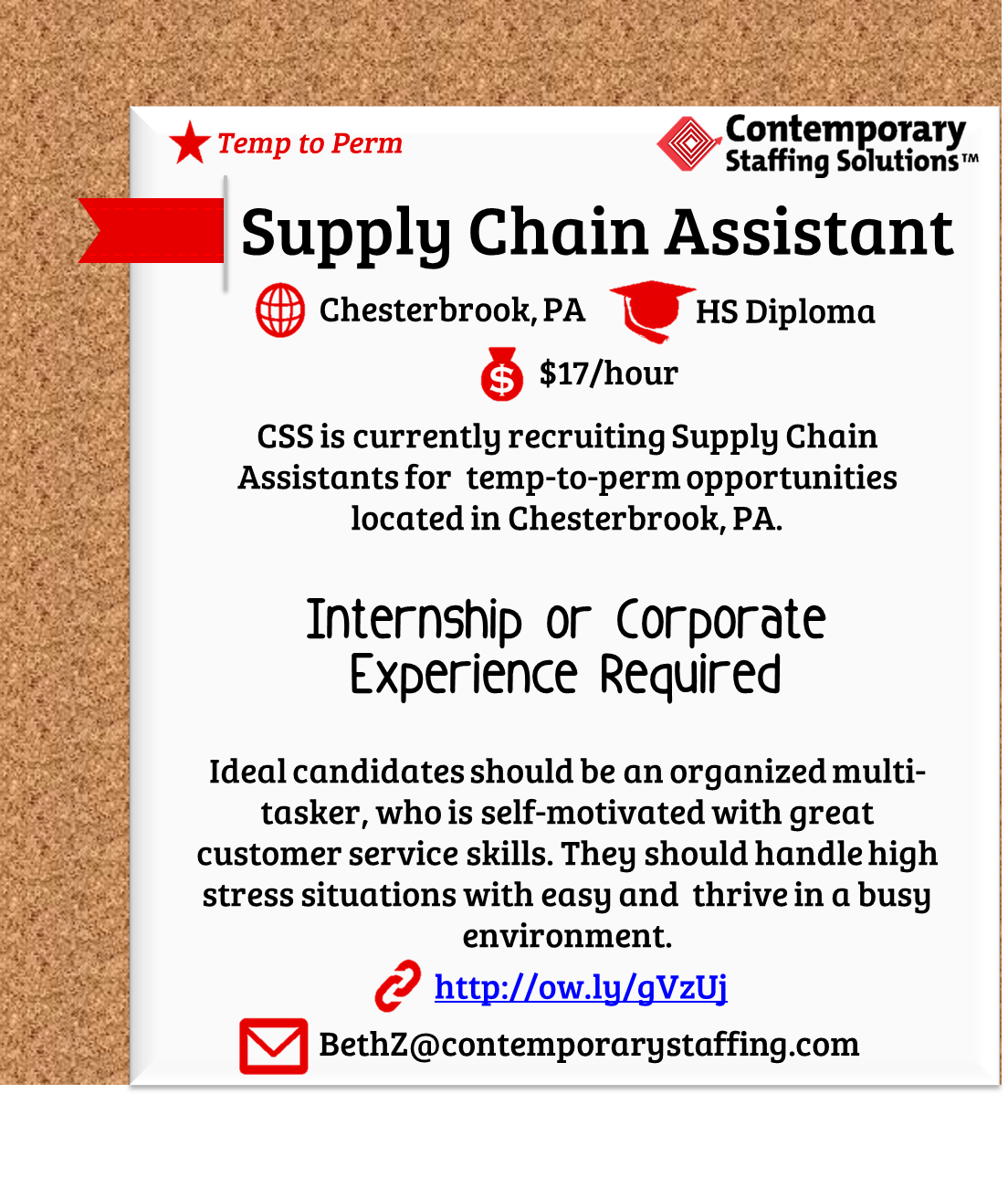 CSS is #hiring Supply Chain Assistants in Chesterbrook, PA l $17/hr ...