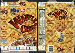 Eggo+Cereal+box | Post - Waffle Crisp - introductory free trial size - cereal box - 1996