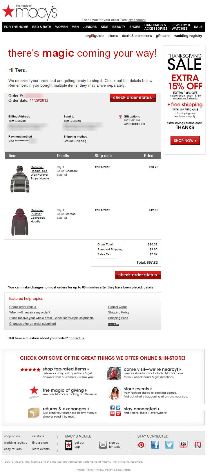 SL:'Your Macy's order ' Macy's order confirm email from holiday 2013