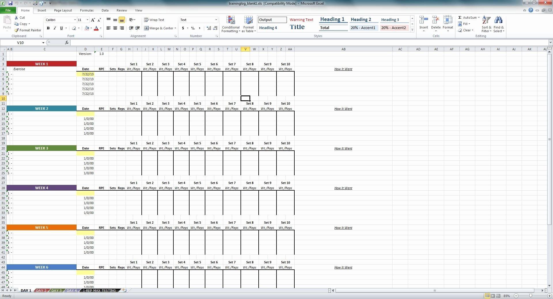 New Weightlifting Spreadsheet Template Spreadsheet Template