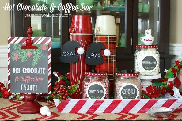hot chocolate coffee bar, christmas decorations, seasonal holiday decor