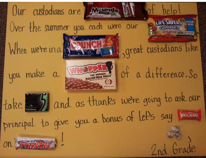 Candy Poster for Custodian Appreciation Week | First Grade ...