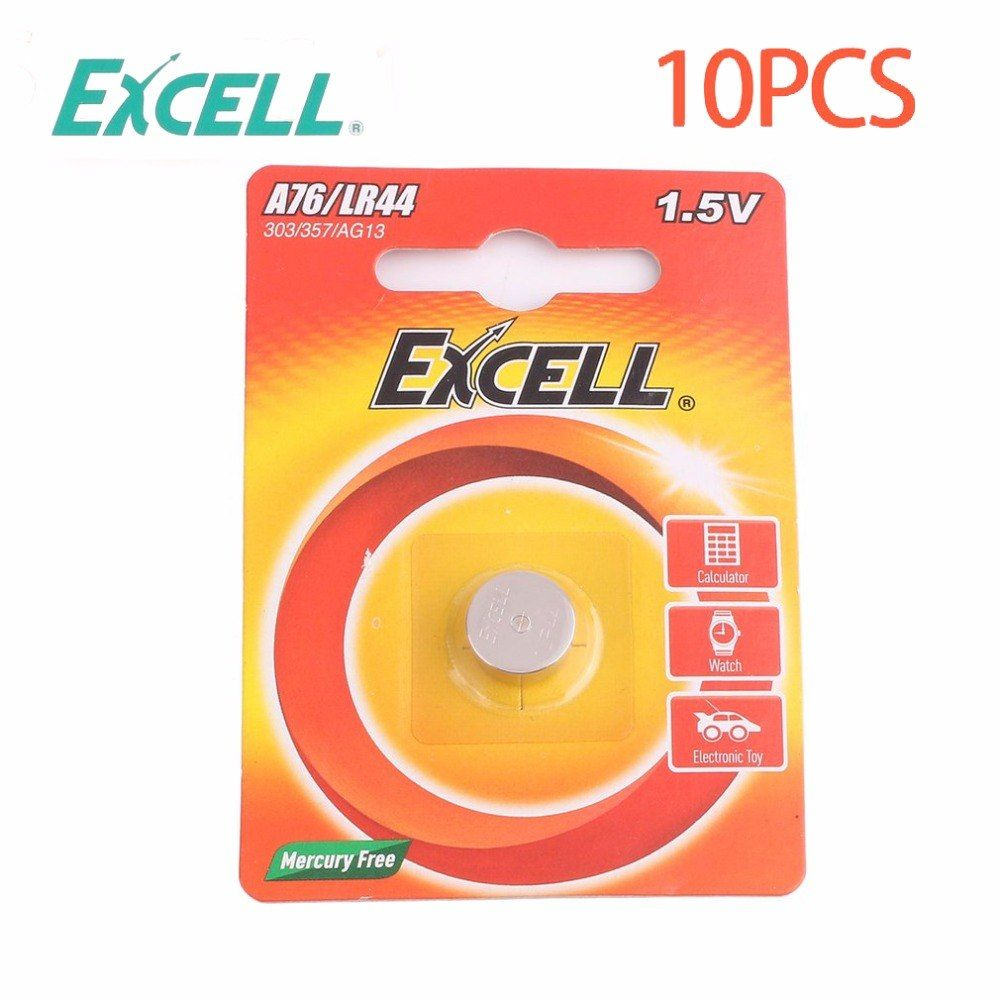 10pcs Lot Excell 1 5v Lr44 A76 303 357 Ag13 Button Coin Cell Battery Batteries Alkaline Batteries For Watch Electr Electronic Toys Alkaline Battery Electronics