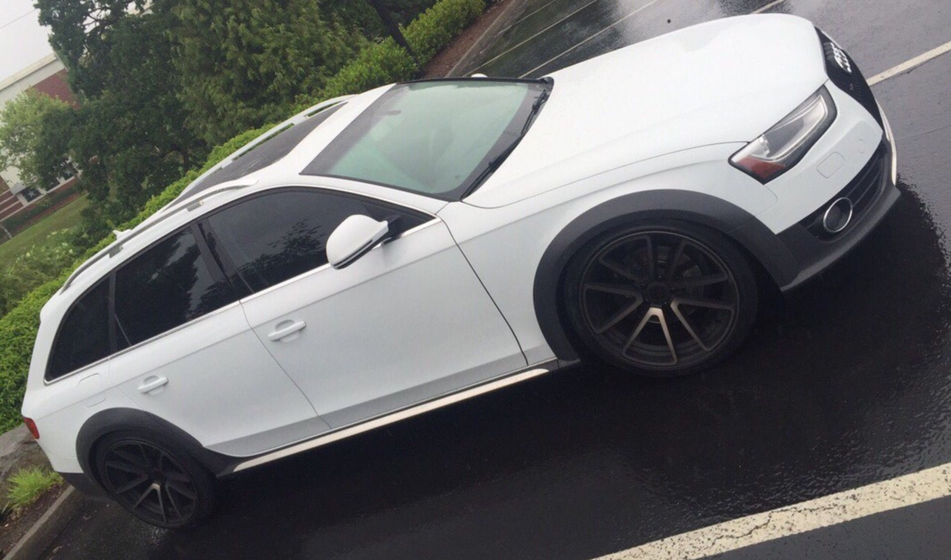 White Audi Allroad with Rotiforms Alloy Wheels For A4 Allroad