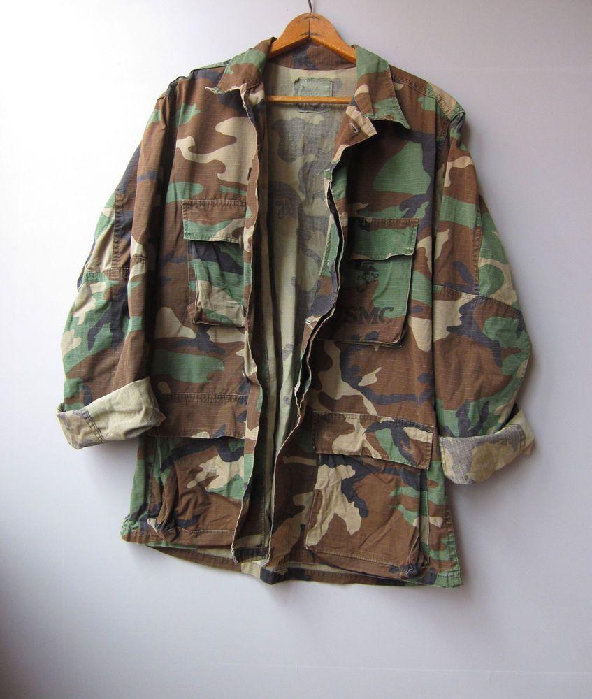 9b0031a5141fd Vintage USMC Camo Jacket Shirt Woodland Camouflage Small #Military  #Armyjacket #camojacket #camouflage #camo #jacket