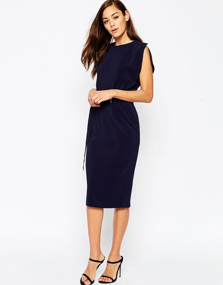 ASOS Belted Midi Dress with Split Cap Sleeve and Pencil Skirt ...