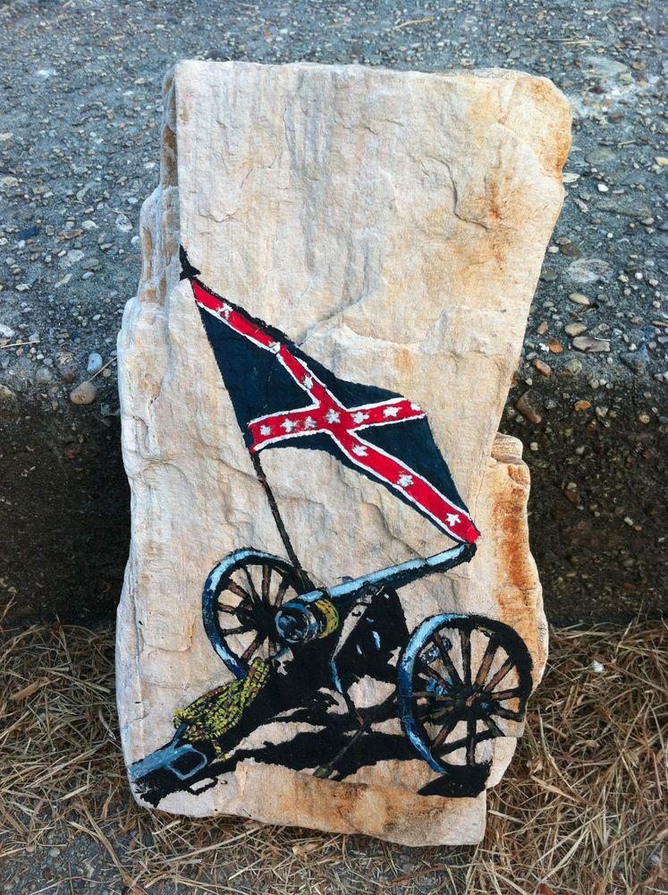Hand Painted Confederate Civil War Cannon on Mississippi Petrified Wood.      #artsandcrafts #petrifiedwood #fossil #rock #minerals #handpainted #originalart #nature #decor #naturedecor #crafts #art #civilwar