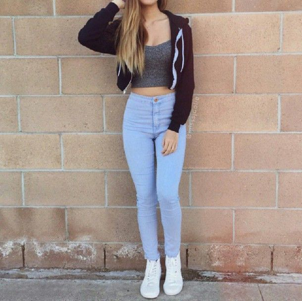 Top crop tops gray crop top crop jacket jacket black crop top high waisted jeans white shoes ...