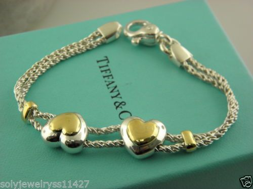 63038fa34 Tiffany & Co RARE ST.Silver 18K Gold Rope Sliding Heart Double Hearts  Bracelet. in Jewelry & Watches, Fine Jewelry, Fine Bracelets, Precious  Metal without ...