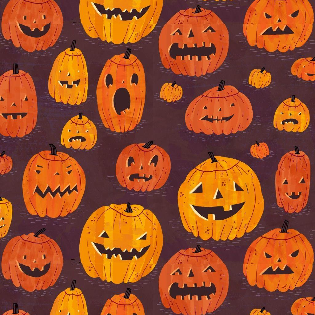 Halloween Pumpkins Pattern Ipad Wallpaper Pumpkin