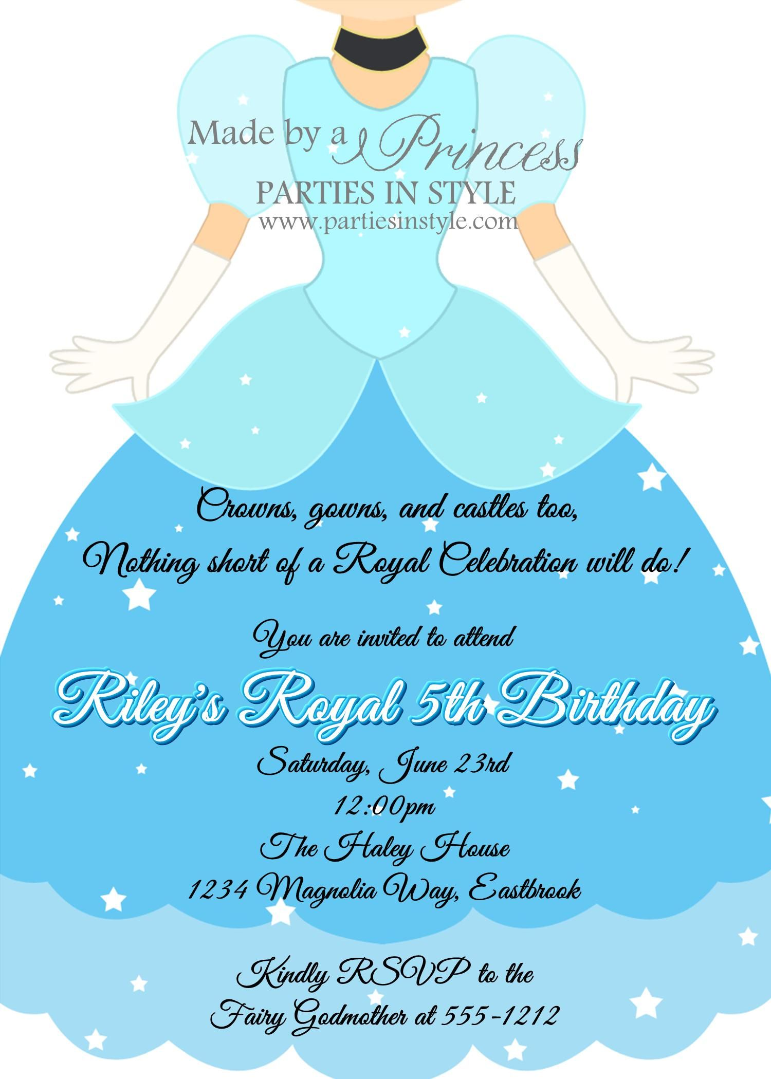 Cinderella Princess Birthday Party Invitation | Princess, Cinderella ...