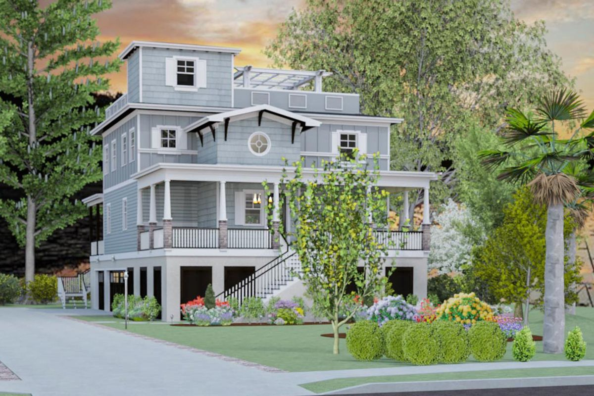 Plan 765004twn Exciting Beach House Plan With Rooftop Garden In 2021 Beach House Plan Beach House Design Coastal House Plans