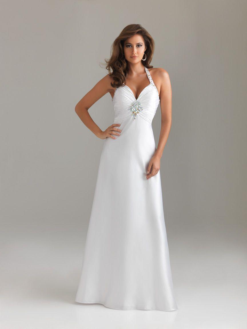 White halter open back beading full length chiffon evening dress