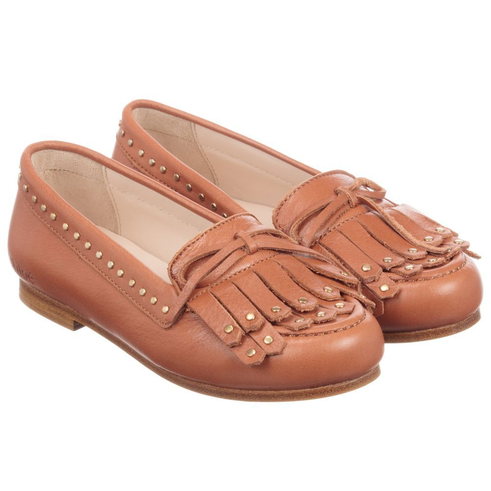 ff9365d2987 Girls Brown Leather Loafers for Girl by Chloé. Discover more beautiful designer  Shoes for kids online