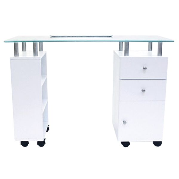 J Manicure Table White With Glass Top The Industry Source Manicure Table Beauty Room Salon Manicure