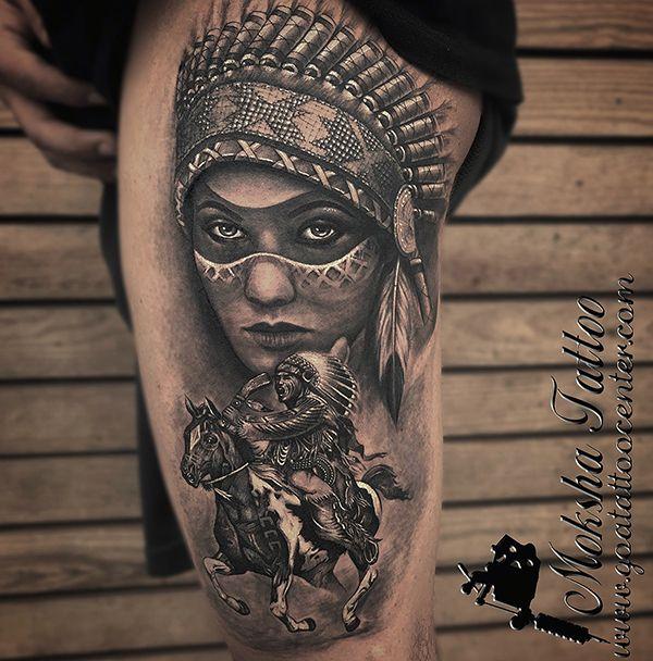 402e1288d Red Indian Tattoo done by Mukesh Waghela at Moksha Tattoo Studio Goa India.