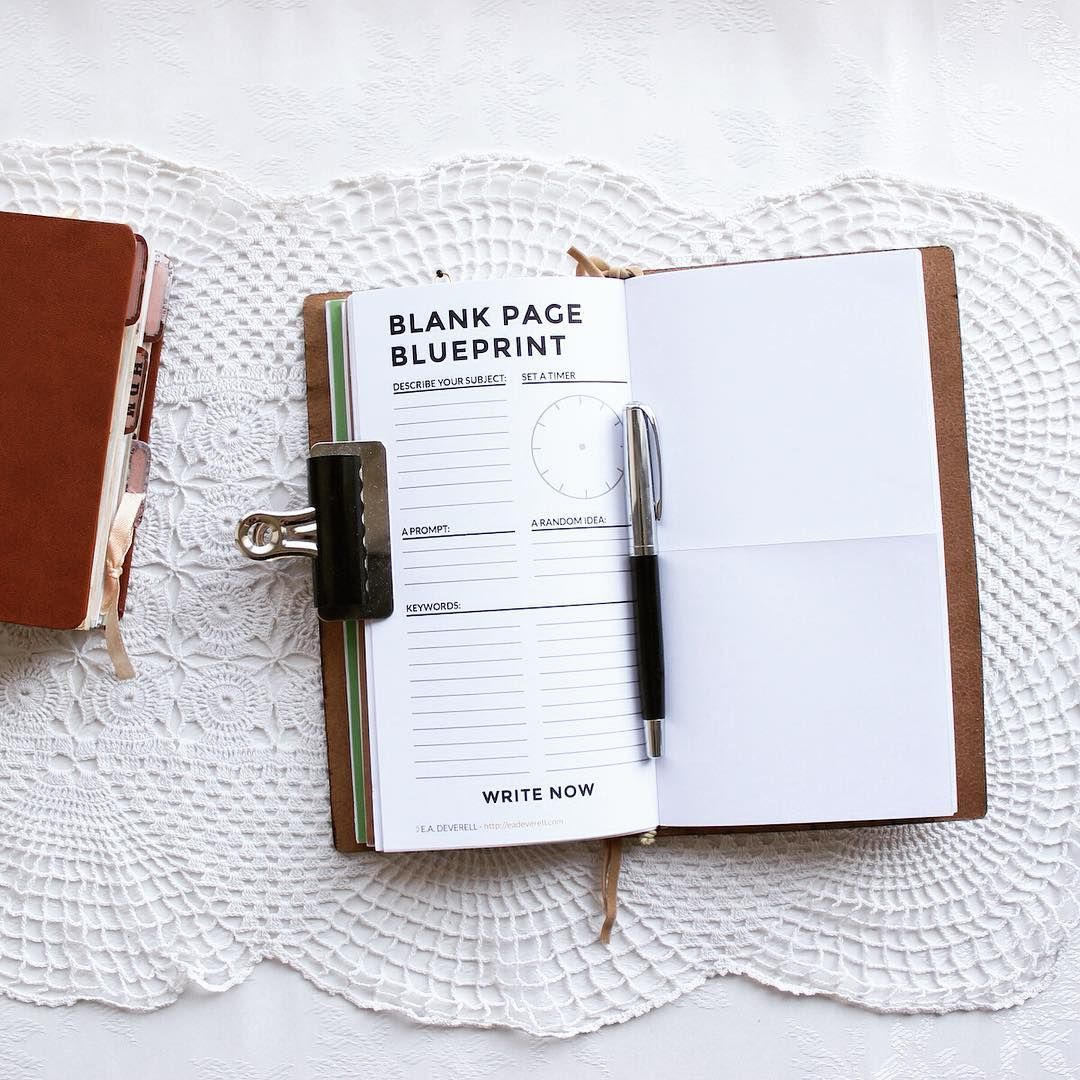 Blank Page Blueprint Journal Worksheet Wednesday