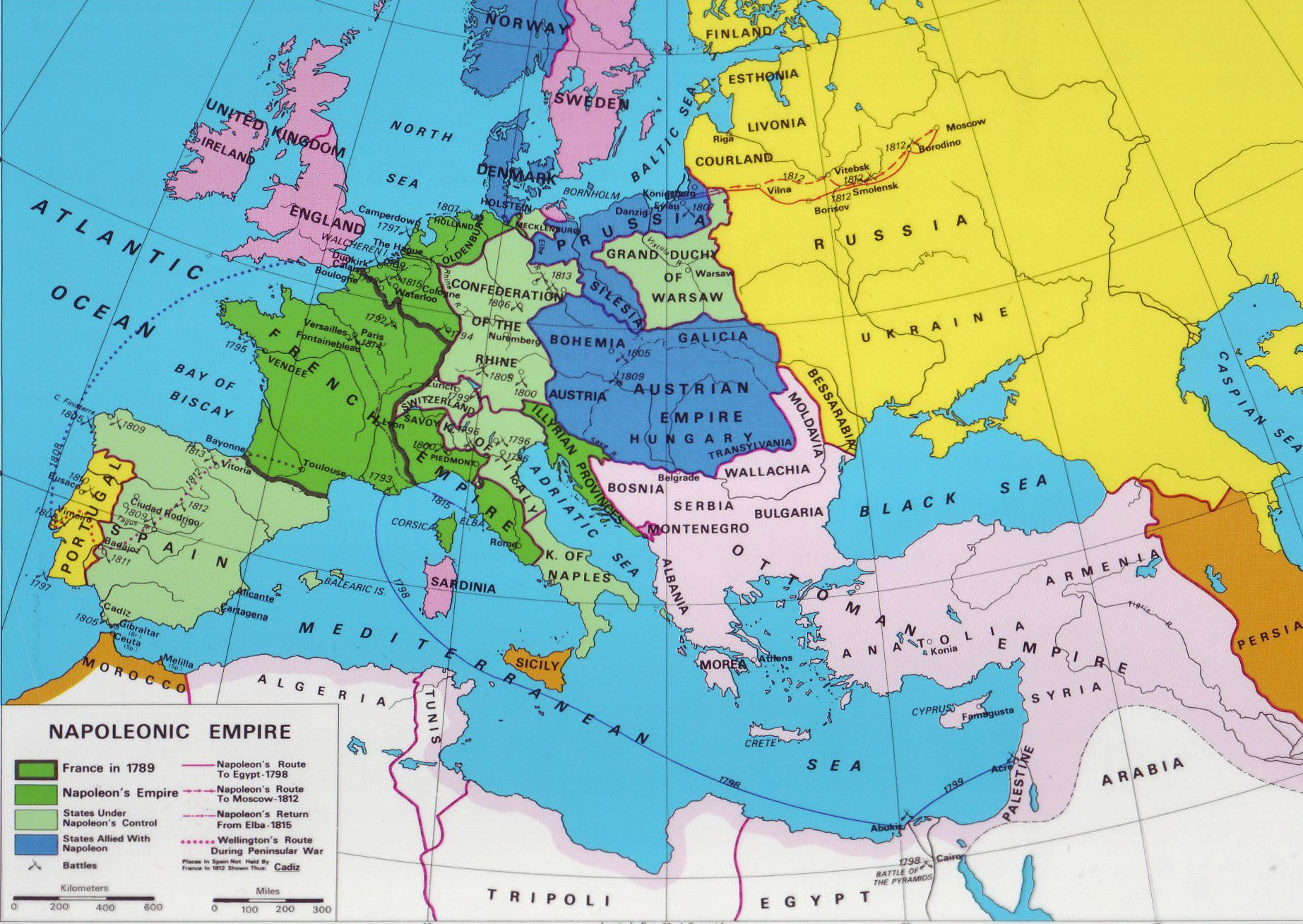 Map of Napoleon's empire in 1812, just before his invasion ...