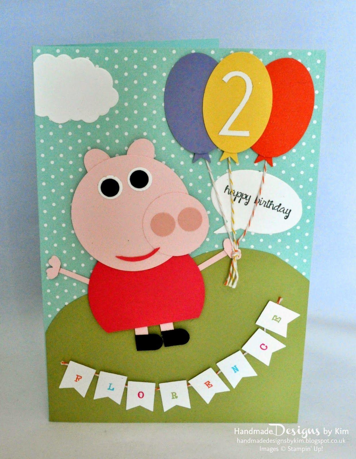 peppa pig style punch art happy birthday card  birthday