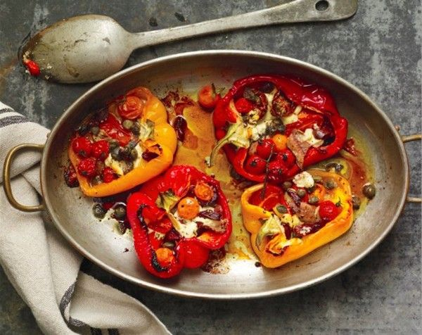 Roasted red peppers with anchovies and tomatoes