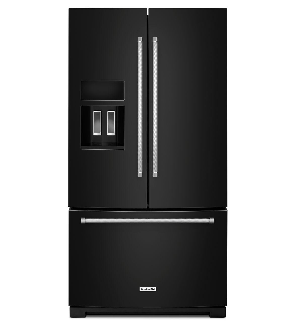 Kitchenaid Standard Depth Black French Door Refrigerator 268 Cuft