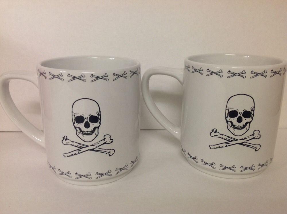 Skull Crossbones Mug Set Of 2 Black On White Ceramic Signature Housewares Inc.