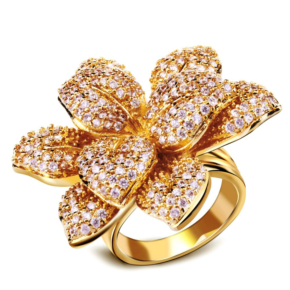 Cubic Zirconia Ring 3D Real Relief Big Gorgeous Flower Design ...