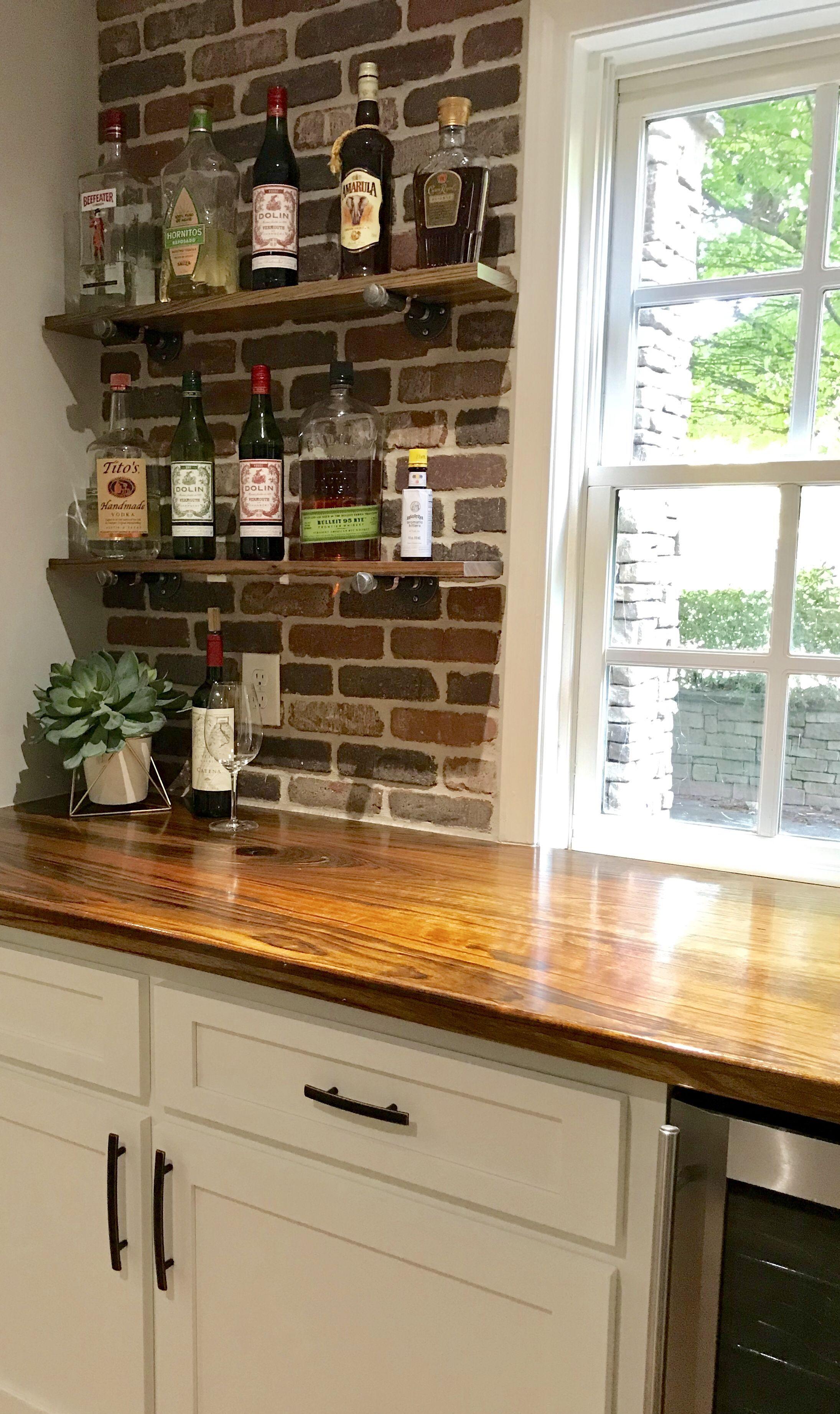 The Brick Backsplash And Custom Shedua Wood Countertop Made The