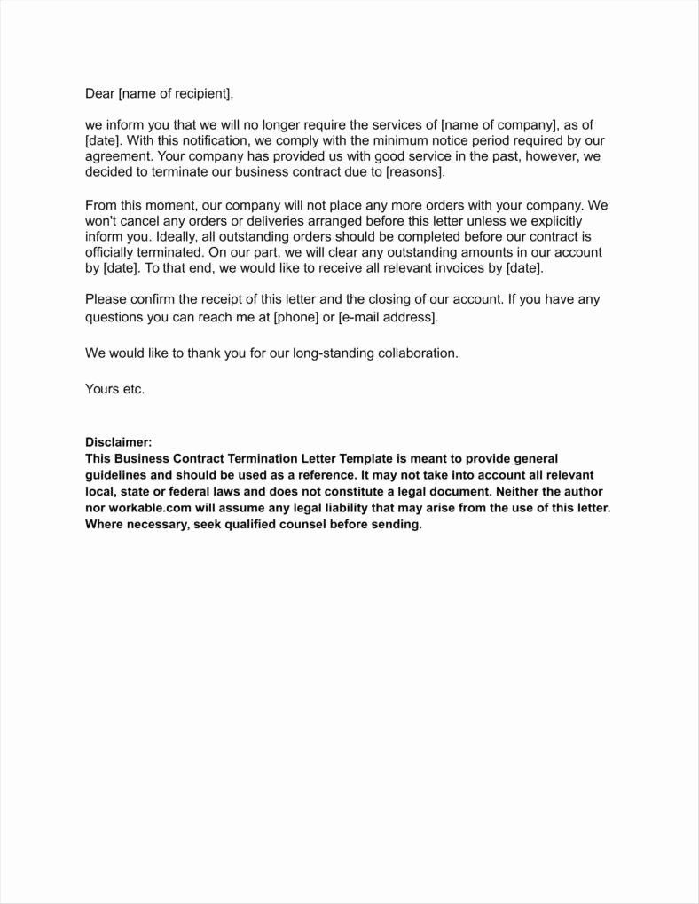 Business Contract Termination Letter Template Best Of 20 Agreement Termination Letters Free Word Pdf Excel Letter Templates Lettering Letter Writing Template