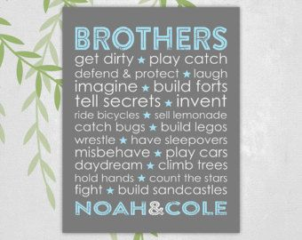 brothers names art print - subway - boys playroom decor - personalized kids bathroom art - gray and blue - twin boys
