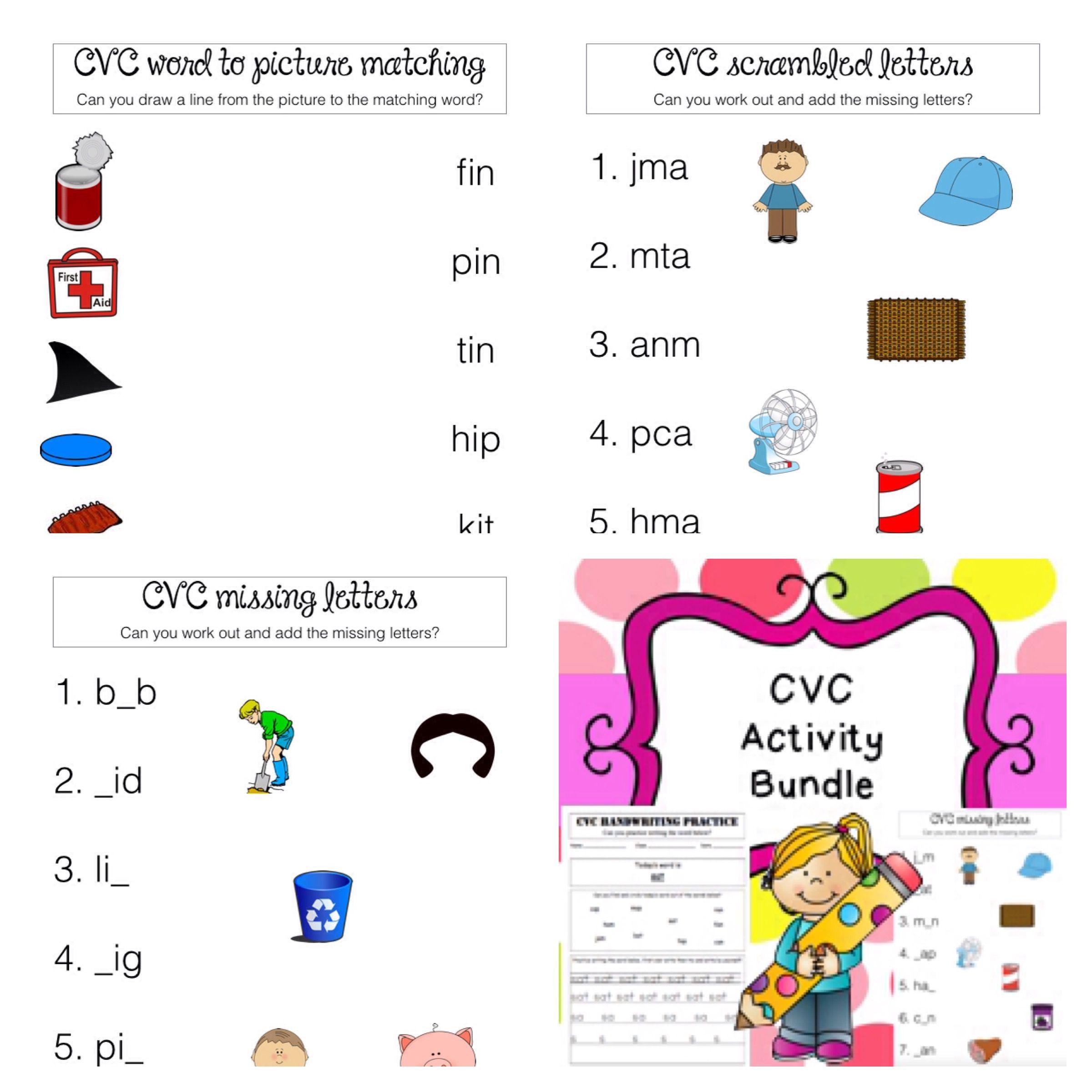 Cvc Bundle Worksheets Printable No Prep Handwriting