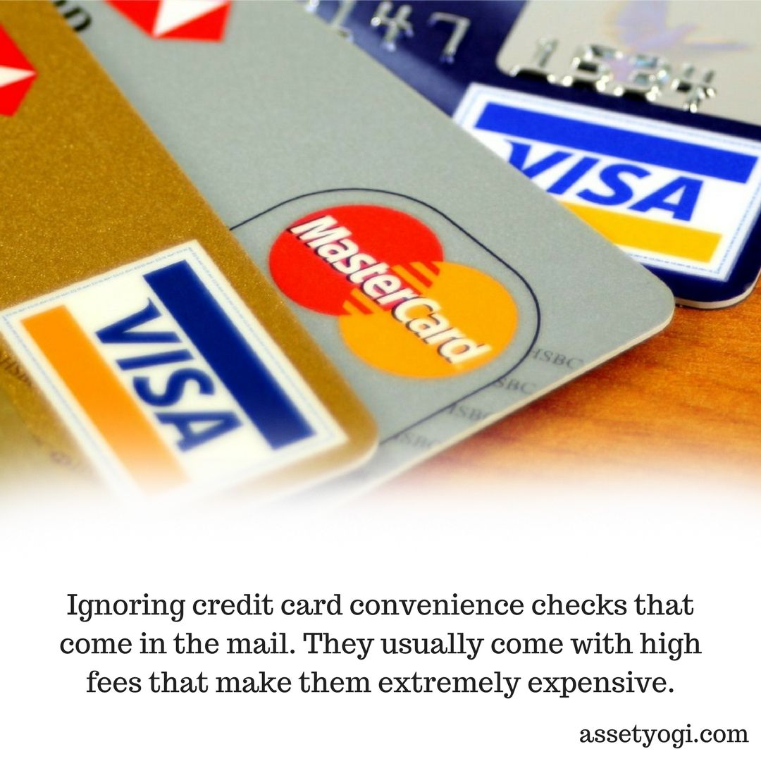 Ignoring Credit Card Convenience Checks That Come In The Mail