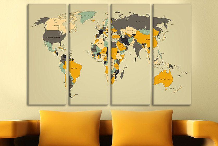 Push pin world map Canvas wall art Map of world World map push pin ...