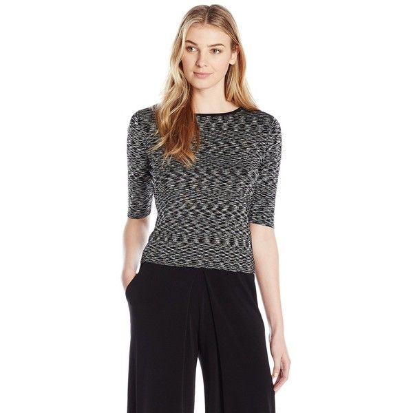 Ivanka Trump Women's Knit Top ($69) ❤ liked on Polyvore featuring tops, sweaters, grey knit sweater, marled grey sweater, gray knit sweater, marled sweater and grey sweater