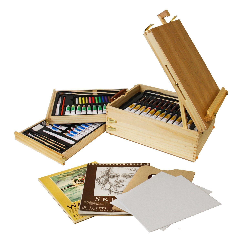 U.S. Art Supply 95 Piece Wood Box Easel Painting Set Oil