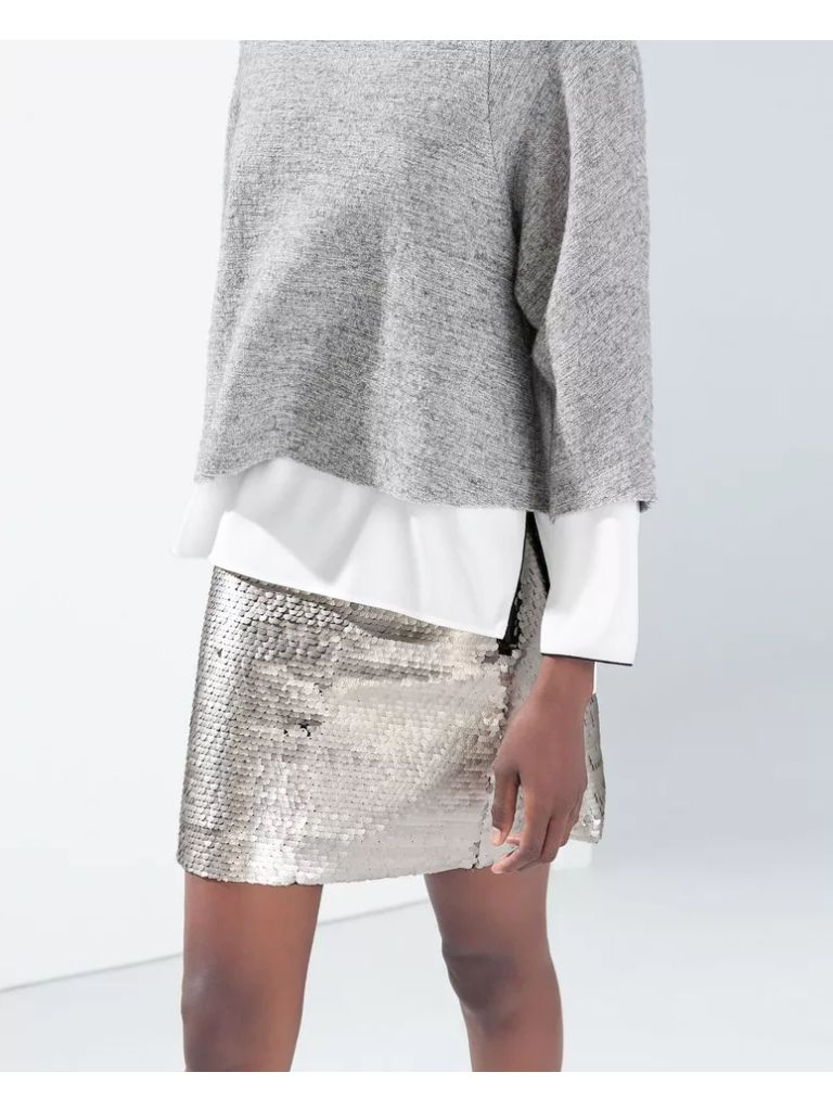 Fashion style Sequin Gold skirt zara pictures for girls