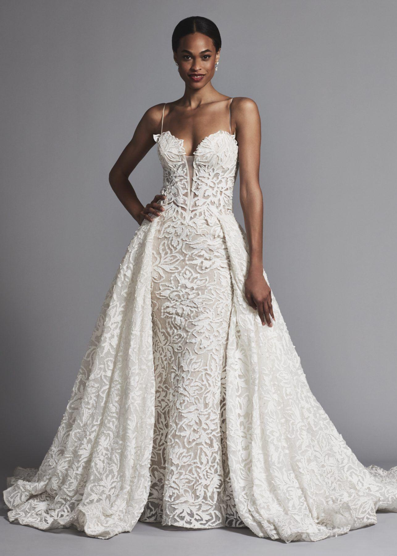 Lace Corset Bodice Sheath Wedding Dress With Lace Overskirt