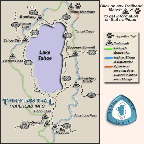 Lake Tahoe hiking trails by region